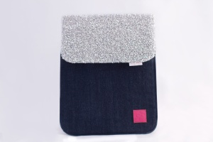Techie iPad Sleeve closed with the Trixie panel in silver