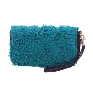 Birdie bag with Lily panel in Turquoise